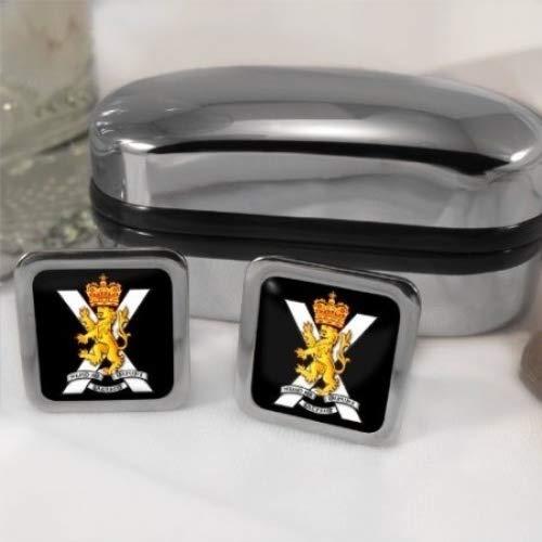 Family Crests Régiment Royal de Ecosse Hommes Boutons de Manchettes avec Chrome Emballage Cadeau