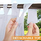 RYB HOME Detachable Sticky Tab Top Outdoor Curtain White Sheer for Patio Arbor Cabana, Privacy Voile Light & Airy Panel for Pavilion Farmhouse Cabin, 1 Free Rope, Wide 54 x Long 108 inches