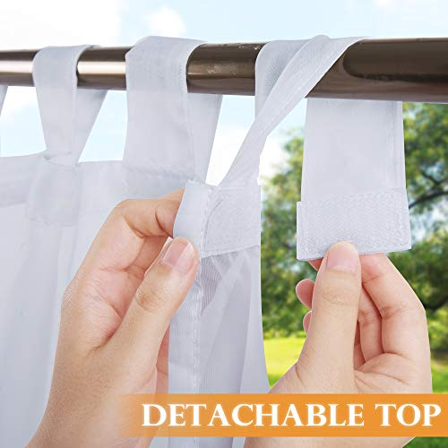RYB HOME Detachable Tab Top Outdoor Sheer Curtain White Voile Privacy Outdoor Indoor Curtain for Patio Door Gazebo Porch Lanai Pavilion Deck, 1 Rope, 54 x 96 inches Long