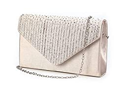 Envelope Type Evening Clutch Crossbody In Apricot Color