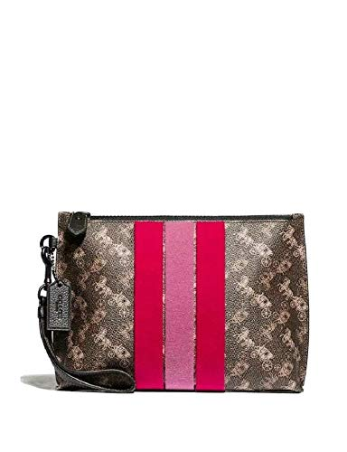 Coach Women's Charlie Pouch With Horse And Carriage Print And Varsity Stripe (Brown)