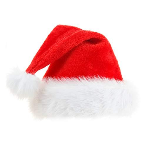 Ptsaying Cappello di Babbo Natale, Morbido Cappello di Natale in Peluche, Cappello di Babbo Natale Comfort in Velluto Unisex Pelliccia Classica Ispessita(Adulti)