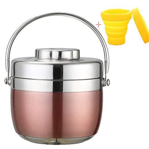 Isolier-Speisegefäß, Thermobehälter,Mobil genießen, Dicht,Edelstahl, Isolierbehälter Box für Warme Speisen,Rosa