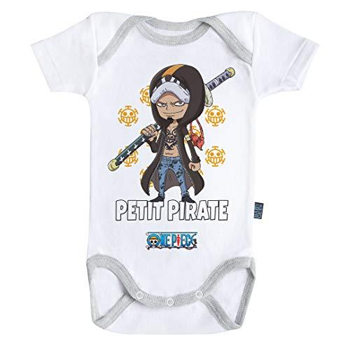 Baby Geek Petit Pirate Law - One Piece ™ - Licence Officielle - Body Bébé Manches Courtes (12-18 Mois)