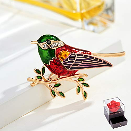 Leuke Vogel Women's Broche Pin, Retro Kleur Geverfd