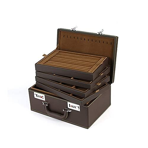 LYLY Caja de joyería de cuero de la PU con la combinación, anillo collar pulsera organizador de joyería multifunción almacenamiento cajas de exhibición