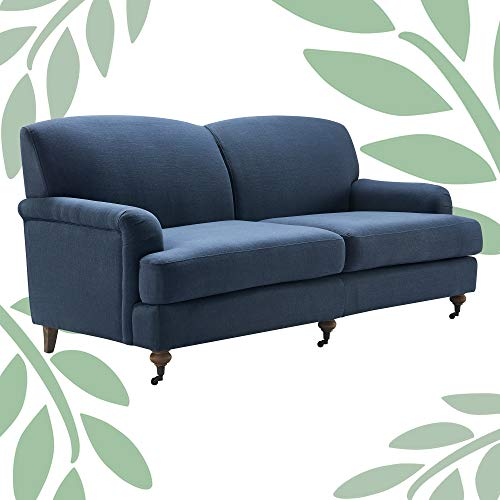 Finch Elmhurst Mid Century Upholstered Sofa, French Cottage Living Room Couch, Solid Wood Legs, 72