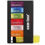 com-four® Dispenser per farmaci in Polacco - Scatola farmaci per 7 Giorni - 3 Scomparti - portapillole - Porta Tablet - Dispenser settimanale per la conservazione [Polacco] (Nero)