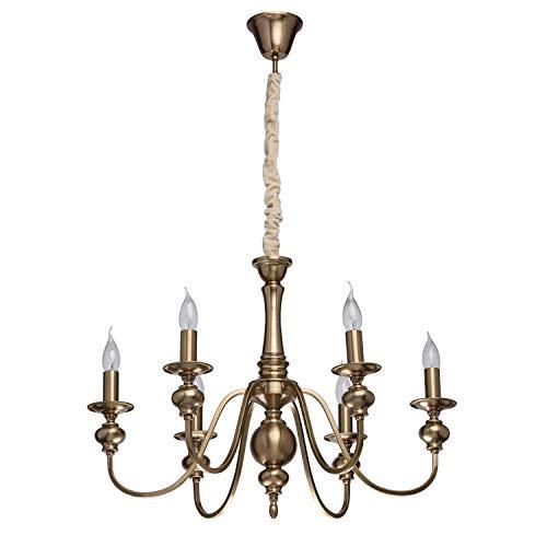 MW-Light 614010506 Klassischer Kronleuchter Kerzen 6 Armig Messing Wohnzimmer