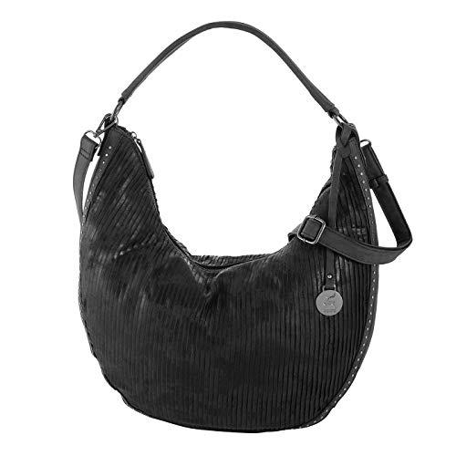 Prato Beuteltasche Rhodo Schultertasche für Damen aus Kunstleder, Umhängetasche für Freizeit (schwarz)