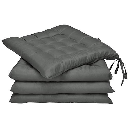 Beautissu Set 4 Lea - comodísimos Cojines para sillas - Vivienda o terraza - 40 x 40 x 5 cm - Antracita