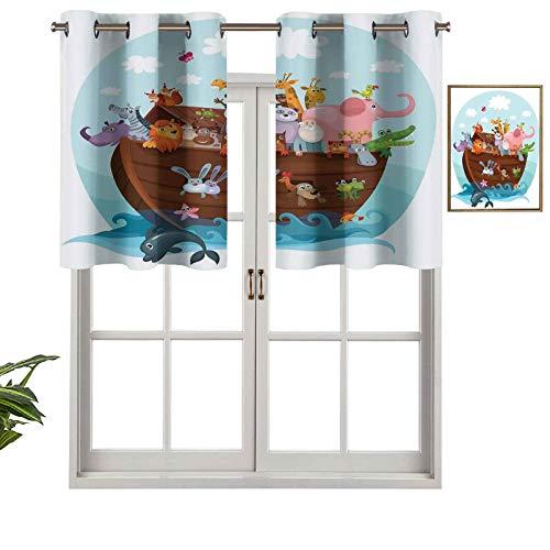 Cenefa de cortina con ojales de alta calidad The Two of Every Living in the Ark Ark, diseño humoroso, juego de 1, 132 x 45 cm para decoración de interiores