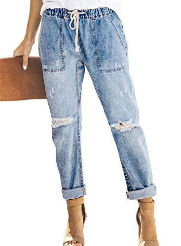 Sidefeel Women Distressed Pockets Denim Joggers Elastic Drawstring Waist Jeans Pants Large Light Blue