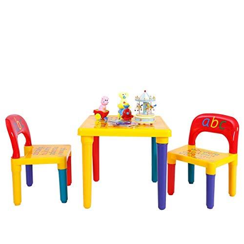 DREAMADE 3 Pezzi Set di Mobili Tavolino con 2 Sedie per Bambini in Plastica Ecologico e non Tossico, Multicolore