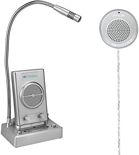Retekess TW102 Sistema de Intercomunicación Ventana,Cable de 8M con Altavoz Exterior,Conecte el Micrófono Inalámbrico, el Sistema de Intercomunicación para Oficina, Hotel, Museo, Centro Médico