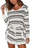 Fixmatti Women Matching Shorts and Sweater Set Stripes Knitted Sweatsuits M