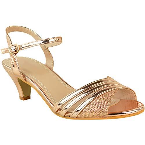 Fashion Thirsty Damen Low Heel Party Sandalen Strappy Hochzeit Brautjungfer Schuhe Größe