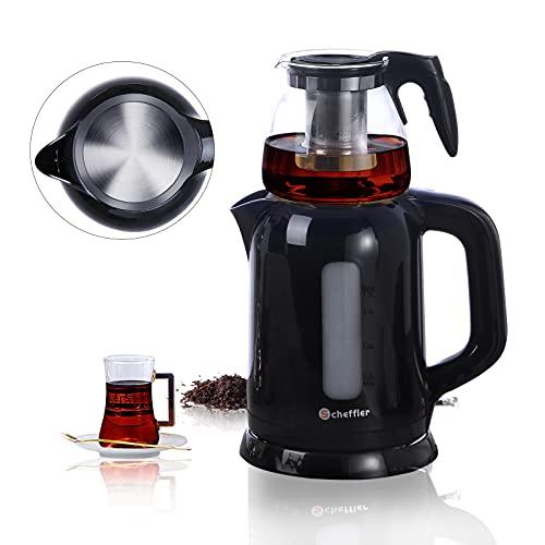 Türkische Teekanne,Scheffler elektrischer Teekocher, 1.7L Wasserkocher,0.9L Teekocher Glas, Teemaschine, Caymatik,Tea Maker mit Teesieb Abschaltautomatik,1800W