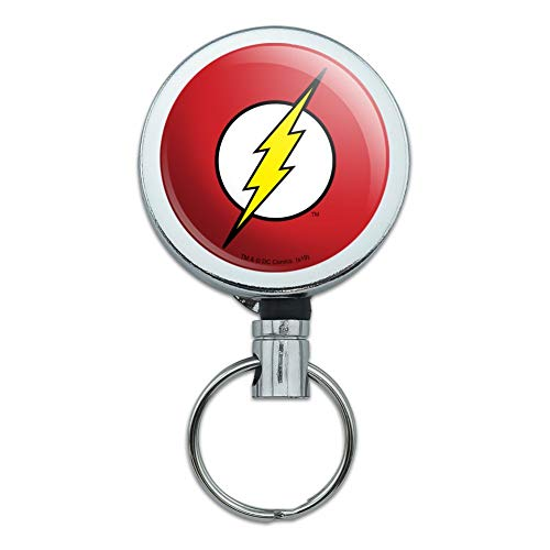 The Flash Lightning Bolt Logo Heavy Duty Metal Retractable Reel ID Badge Key Card Tag Holder with Belt Clip