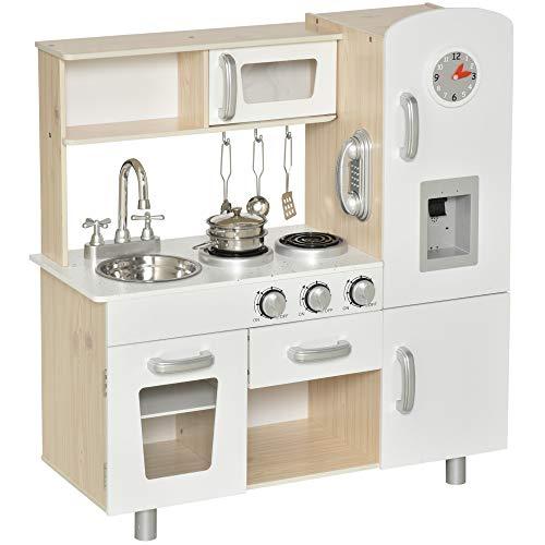 HOMCOM Cuisine Bois Jeu d'imitation - Cuisine Enfant - Nombreux Accessoires & rangements Inclus - MDF pin Blanc chêne Clair