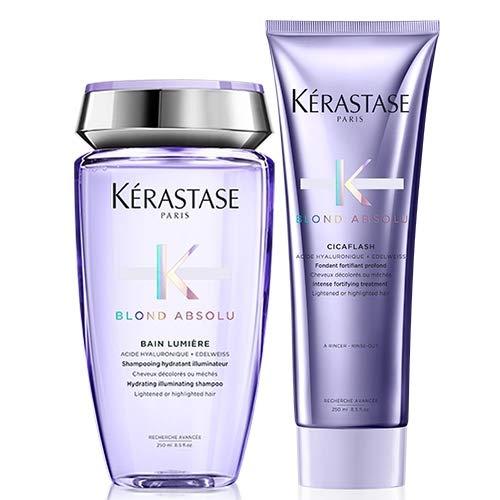 Kérastase Blond Absolu - Juego de champú hidratante iluminador Bain Lumiere 250 ml y acondicionador Cicaflash 250 ml