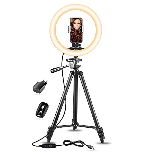 "10"" Aro de Luz con Tripode Extensible 50"" y Soporte Teléfono Flexible para Maquillaje/Instagram, SUNUP Anillo de Luz LED para Móvil Selfie TikTok Youtube, Compatible con iPhone/Android (USB Cargador)"