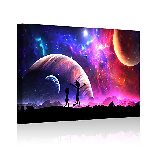 """HAOSHUNDA Rick and Morty Oil Painting on Canvas Posters and Prints Decoracion Wall Art Picture Living Room Wall (12"""" x 18"""", Artwork - 06)"""
