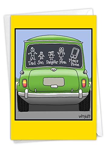NobleWorks, Mom's Phone - Funny Happy Birthday Card for Mom - Hilarious Cartoon of Family Car Sticker, Note Card with Envelope C7329BMG