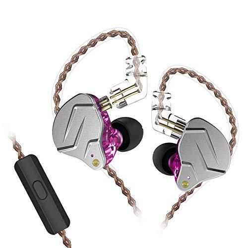 KZ ZSN Pro  Auriculares DE Alta FIDELIDAD Tecnología híbrida Profesional dinámica Auricular en la Oreja (con micrófono, Púrpura)