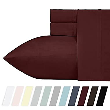 400 Thread Count 100% Cotton Sheet Set, Wine Red Queen Size Sheets, Highest Quality Long-staple Combed Pure Natural Cotton Bed Sheets For Bed, Soft Sateen Sheets Fits Mattress Upto 18'' Deep Pocket