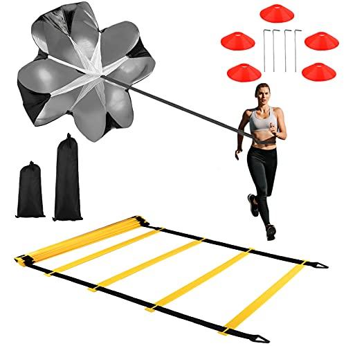 Cupinyo Speed Agility Training Kit, Fußball Trainingsset, fußball trainingsgeräte set - Inklusive Agilitätsleiter, 5 Scheibe Kegel, Widerstand Fallschirm, 4 Stahl Pfähle & Tragetasche