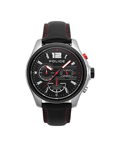 Police Herren Chronograph Quarz Uhr mit Leder Armband PL.15403JSTB/02