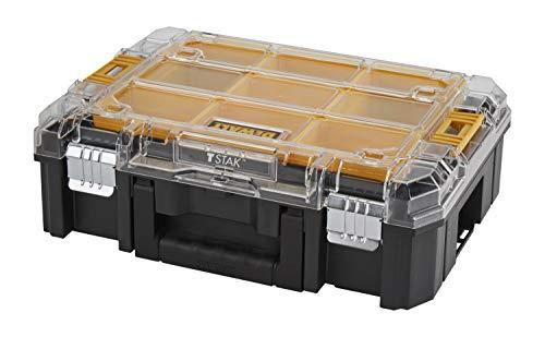 DeWalt Tstak V Organizer/stapelbare gereedschapskist (met transparant deksel, twee grote en vijf kleine uitneembare inhouddozen, combineerbaar met andere Tstak-boxen, DWST-71194