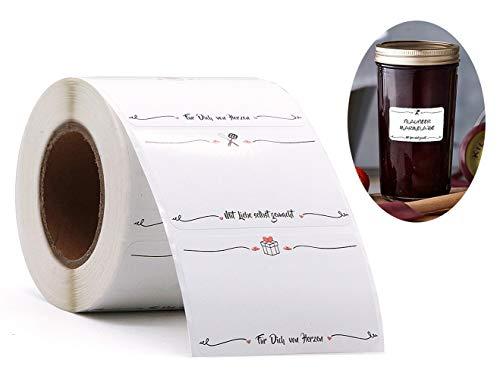500 Etiketten Selbstklebend Haushaltsetiketten - 6 * 3,8 cm Etiketten Einmachgläser - Mit Liebe Selbst Gemacht | Für Dich von Herzen - Ablösbare Papieraufkleber für Gläser Marmelade Einmachgläser