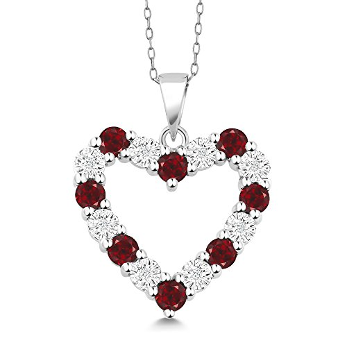 Gem Stone King 925 Sterling Silver Diamond and Red Garnet Heart Shape Pendant Necklace For Women with 18 Inch Silver Chain