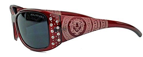 amashades Medusa Styles GIANNI MILANO polarisierte Damen Sonnenbrille Strass Glitzersteine Designer Look KP34 (Merlot)