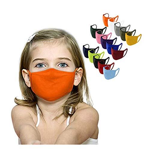 jerferr 12pcs/15pcs Bambino ???????????????????????????????? tinta unita stampato riutilizzabile tessuto lavabile viso_maschera
