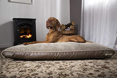 "Scruffs Orthopedic Memory Foam Dog Bed/Mattress/Pillow Water Resistant Lining, Machine Washable, Non-Slip Base, Brown 39"" x 27.5"" x 2.5"" (Medium)"
