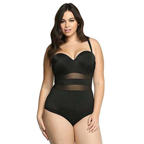 GWELL Damen Mesh Hollow Plus Size Push Up Einteilige Badeanzug Bademode Badebekleidung schwarz 2XL