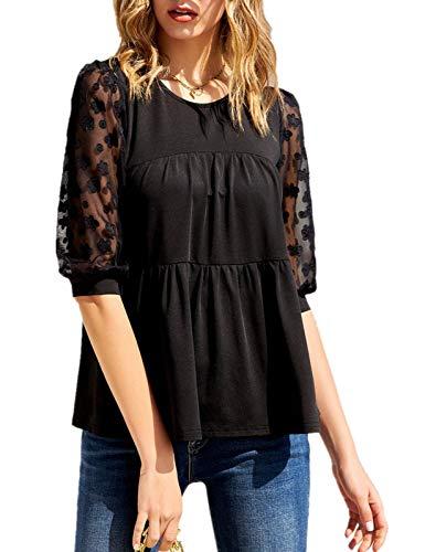 GRACE KARIN Camicia Donna Elegante Tinta Unita Magliette Estate Camicetta Casual Nero S CL0059S21-2
