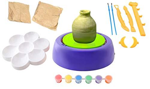 Juego prémium de pequeño Taller de alfarería con Muchos Accesorios (alfarero, Arcilla, Colores, etc.). Pottery Wheel Töpferei - Juguete Creativo para niños