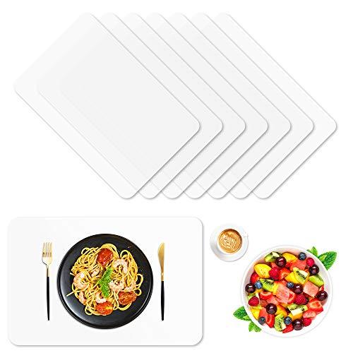 8 Stück Tischset Transparent, tischsets abwaschbar weiß, Esstisch Platzset Kunststoff, rutschfest, Antifouling, Hitzebeständiges Filet-Tischset, Geeignet für Zu Hause Küche Restaurant, 43*28cm