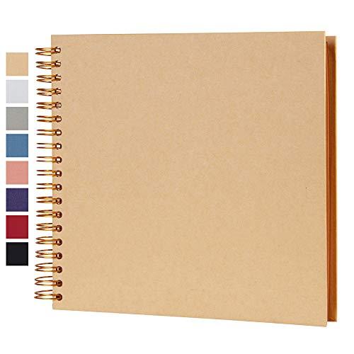 10 x 10 Inch DIY Scrapbook Photo Album Hardcover Kraft Blank Yellow Page Wedding and Anniversary...