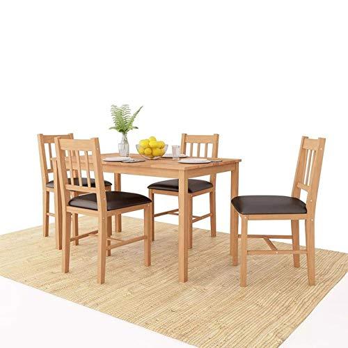 LGFSG Conjunto de Mesa Juego de 5 Piezas de Muebles de Comedor Juego de Mesa de Comedor de Roble Macizo Mesa de Cocina Mesas de Comida Comedor Furnitur, marrón, L