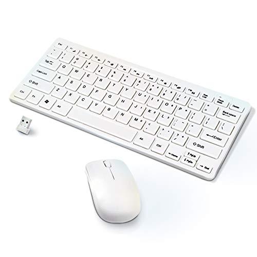 KawKaw Mechanische Bluetooth Tastatur-Set mit Maus&USB Empfänger für PC - Wireless Keyboard im QWERTY-Format für Arbeit und Gaming (Weiß)