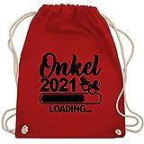 Shirtracer Bruder und Onkel Geschenk - Onkel 2021 loading mit Schnullern - schwarz - Unisize - Rot - Fun - WM110 - Turnbeutel und Stoffbeutel aus Baumwolle