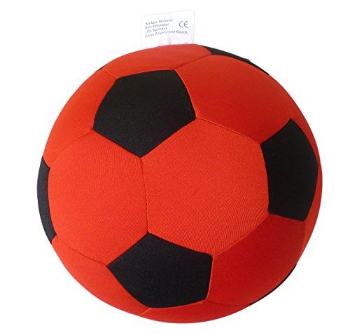 Fußball Kissen Ø ca.21cm rot / schwarz | Stoff Fußball