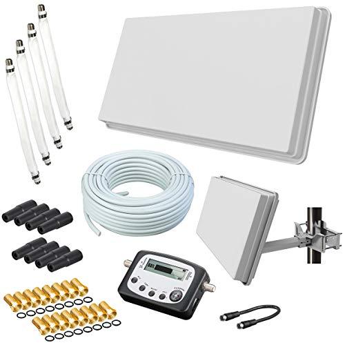 Selfsat H30D4+ Flachantenne Quad + 50m Kabel + Fensterhalterung + SAT-Finder + 4 Fensterdurchführung + 16 F-Stecker + 8 Wetterschutztüllen (Full HD 4K UHD Sat Anlage für 4 Teilnehmer) netshop 25 Set