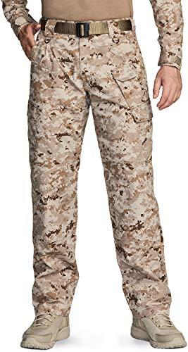 CQR Men's Tactical Pants, Water Repellent Ripstop Cargo Pants, Lightweight EDC Hiking Work Pants, Outdoor Apparel, Mag Pocket Marine Desert, 38W x 34L