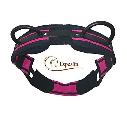 Esposita Reitgurt, Reithilfe mit Zwei stabilen Ledergiffen - Pink-Schwarz VB/Cob